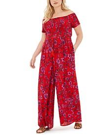 Trendy Plus Size Floral-Print Ruched-Bodice Jumpsuit