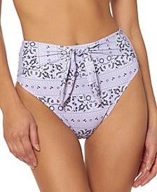 Printed Tie-Front High-Waist Bikini Bottoms