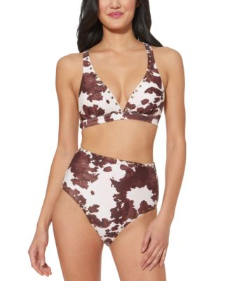 Cow-Print Studded Strappy-Back Bikini Top
