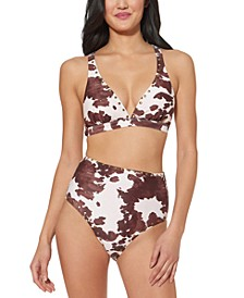 Cow-Print Studded Strappy-Back Bikini Top & Cow-Print Studded High-Waist Bikini Bottoms