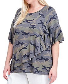 Plus Size Camo-Print Ruffle Top