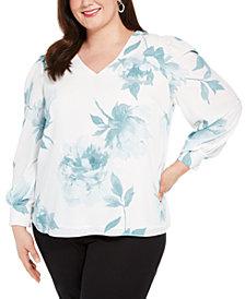 Alfani Plus Size V-Neck Blouse, Created for Macy's