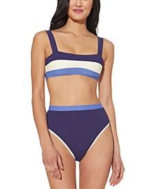 Colorblocked Bikini Top & High-Waist Bikini Bottoms