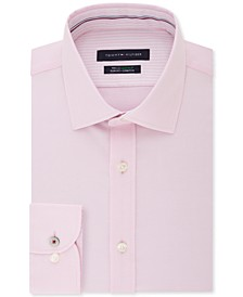 타미 힐피거 셔츠 Tommy Hilfiger Mens Slim-Fit Non-Iron TH Flex Performance Stretch Solid Dress Shirt