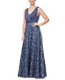 3D-Floral Surplice Gown