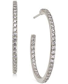 """Medium Cubic Zirconia In & Out Hoop Earrings, 1.125"""""""