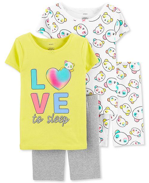 Carter's Little & Big Girls 4-Pc. LOVE Graphic Cotton Pajamas