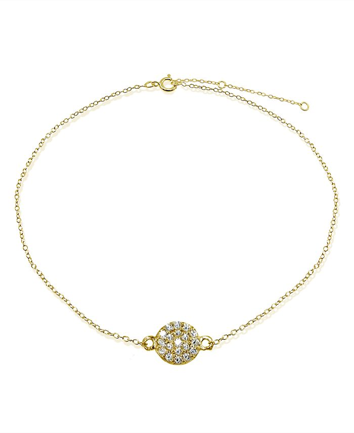 Giani Bernini - Cubic Zirconia Pavé Disc Ankle Bracelet in Sterling Silver or 18K Gold-Plated Sterling Silver