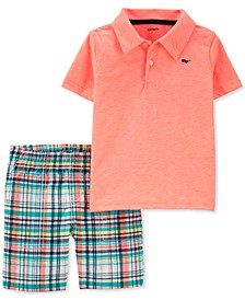 Baby Boys 2-Pc. Neon Polo & Plaid Shorts Set