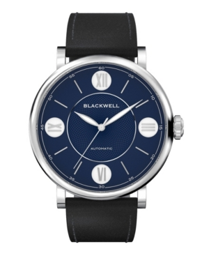 Dark Blue Dial with Silver Tone Steel and Black Leather Watch 44 mm