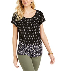 Petite Pleated Printed Top, Created for Macy's