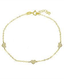 Cubic Zirconia Pavé 3 Heart Station Ankle Bracelet in Sterling Silver or 18K Gold-Plated Sterling Silver