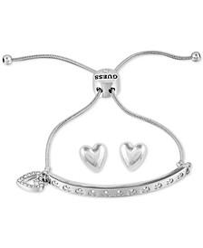 Silver-Tone Pavé Heart Charm Slider Bracelet & Stud Earrings Set