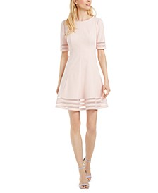 Petite Illusion-Stripe Fit & Flare Dress
