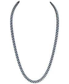 Fox Chain Necklace in Stainless Steel and Blue Ion-Plate, Created for Macy's