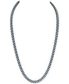 Esquire Men's Jewelry Fox Chain Necklace in Stainless Steel and Blue Ion-Plate, Created for Macy's