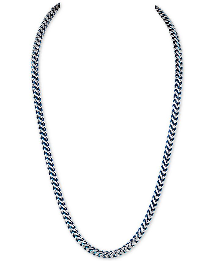 Esquire Men's Jewelry - Fox Chain Necklace in Stainless Steel and Blue Ion-Plate
