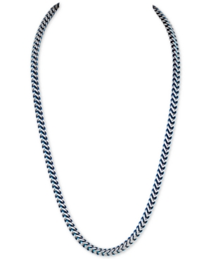 Fox Chain Necklace in Stainless Steel and Blue Ion-Plate