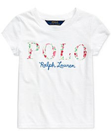 Toddler Girls Floral Logo Cotton Jersey T-Shirt