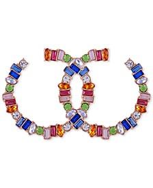 "Gold-Tone Multicolor Crystal Medium Front-Facing Hoop Earrings, 1.75"""