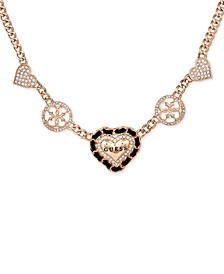 "Gold-Tone Crystal Heart Frontal Necklace, 16"" + 2"" extender"