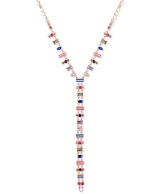 "Gold-Tone Multicolor Crystal Lariat Necklace, 20"" + 2"" extender"