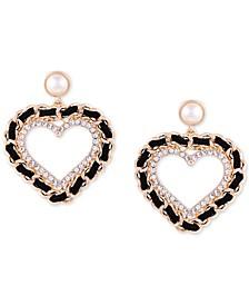 Gold-Tone Imitation Pearl, Crystal & Black Woven Heart Drop Earrings