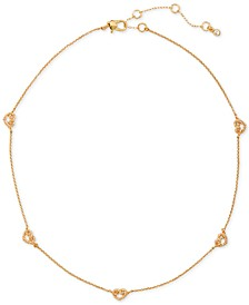"Gold-Tone Pavé Knotted Heart Scatter Necklace, 16"" + 3"" extender"