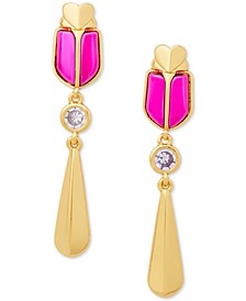 Gold-Tone Beetle Drop Earrings