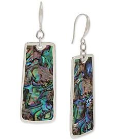 Silver-Tone Rectangle Stone Drop Earrings