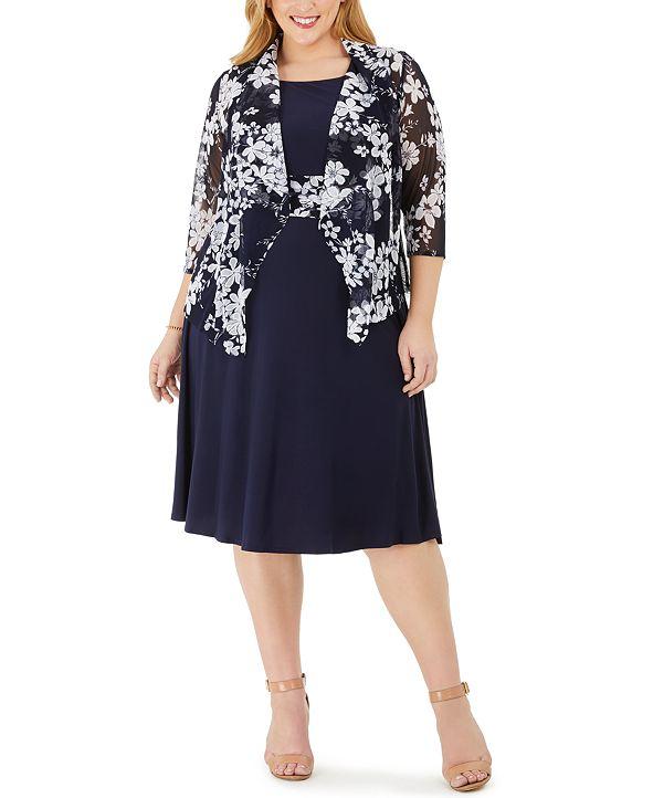 Jessica Howard Plus Size Midi Dress & Floral Jacket