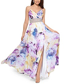 Floral-Print Embellished-Waist Gown