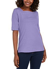 Cotton Eyelet-Trim Top, Created for Macy's