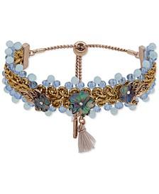 Gold-Tone Pavé Flower Beaded Slider Bracelet
