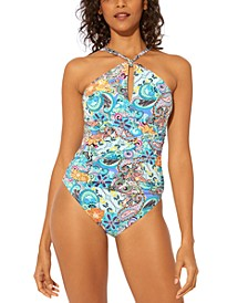 Printed Halter-Neck One-Piece Swimsuit