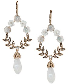 Gold-Tone Crystal & Stone Flower Statement Earrings