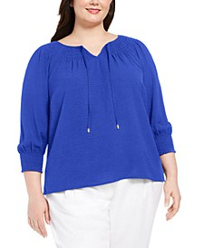 Plus Size Smocked-Trim Tie-Neck Top