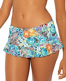 Printed Ruffled Skirted Hipster Bikini Bottoms