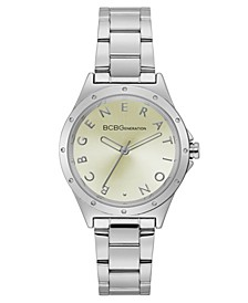Ladies 3 Hands Silver-Tone Stainless Steel Bracelet Watch, 34 mm Case