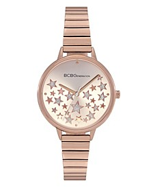 Ladies 3 Hands Slim Rose Gold-Tone Stainless Steel Bracelet Watch, 34 mm Case