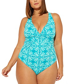Plus Size Printed Cross-Back One-Piece Swimsuit