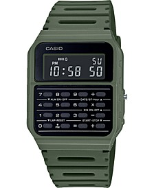 Unisex Digital Calculator Green Resin Strap Watch 34.4mm