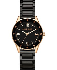 Women's Black Ceramic Bracelet Watch 33mm