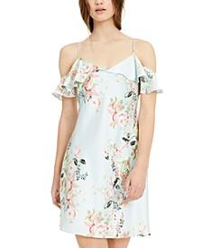 Juniors' Cold-Shoulder Ruffled Floral-Print Bias Mini Dress