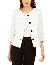 Karl Lagerfeld Paris Four-Button Tweed Jacket