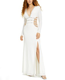 Juniors' Illusion Crystal Gown