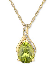"Peridot (1-1/2 ct. t.w.) & Diamond (1/20 ct. t.w.) 18"" Pendant Necklace in 14k Gold"
