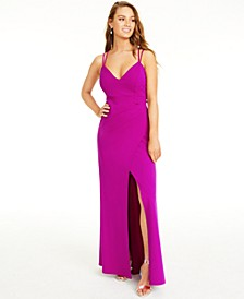 Juniors' Lace-Up Back Gown
