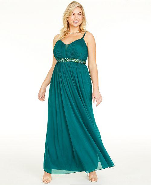Teeze Me Trendy Plus Size Rhinestone-Trim Gown
