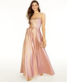 Juniors' Strapless Metallic Gown